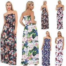 Floral Print Sleeveless Sheering Long Maxi Dress Womens Bandeau Boobtube Dress