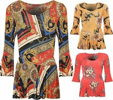 Womens Ladies Pleated Long Flared Floral Baroque Scarf Print Bell Sleeve Blouse