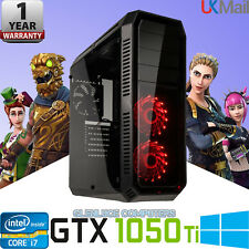 "Fast Gaming Computer PC Double 24"" Screens GTX 1050 TI I7 Quad Desktop 16GB 2TB"