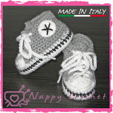 SCARPINE NEONATO UNCINETTO BABY BOOTIES CROCHET GRIGIE ALL STAR CONVERSE TENNIS