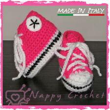SCARPINE NEONATO UNCINETTO BABY BOOTIES CROCHET FUCSIA ALL STAR CONVERSE TENNIS