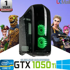 "Ultra Gaming Computer PC Double 24"" Screens GTX 1050 TI I7 Quad Desktop 16GB 2TB"