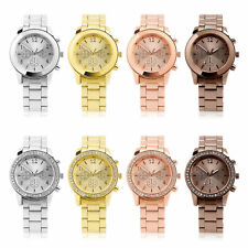 Women Ladies Bracelet Stainless Steel Unisex Dial Analog Quartz Wrist Watch UK