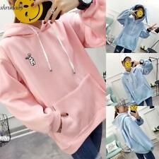 Women Casual Cute Rabbit Embroidery Loose Hooded Long Sleeve Hoodies S5DY