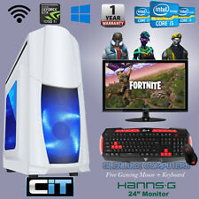 "🌟Quad Core Windows 10 I7 Gaming Computer PC 24"" TFT GTX 1050 TI 16GB RAM 2TB HD"