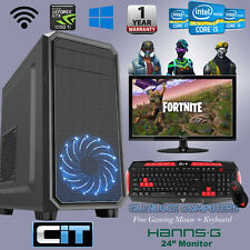 "FAST I7 GAMING PC DUAL 24"" SCREENS 16GB GTX 1050 TI QUAD CORE DESKTOP COMPUTER"