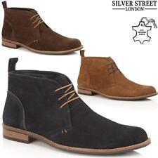Mens Desert Boots Silver Street Suede Leather Casual Walking Chukka Ankle Boots
