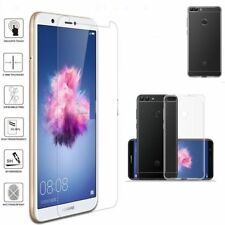 Slim Silicone Case Cover+Tempered Glass Screen Protector For Huawei PSmart