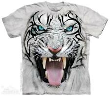 """The Mountain Kinder T-Shirt """"Big Face Tribal White Tiger"""""""