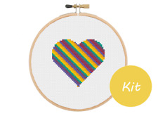 Heart Cross Stitch Kit, Mini Love Heart Cross Stitch Kit, Beginners Cross Stitch