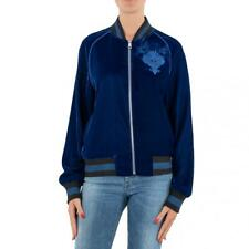 FELPA DONNA ISABELLE BLANCHE PARIS BLUE VELLUTO BOMBER CARDIGAN MADE IN ITALY