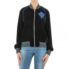 FELPA DONNA ISABELLE BLANCHE PARIS NERO VELLUTO BOMBER CARDIGAN MADE IN ITALY