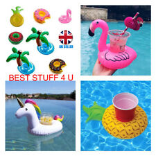 Inflatable Floating Drink Can Cup Holder Swimming Pool Flamingo Unicorn Fun a94