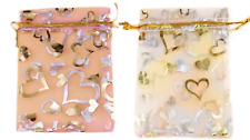 Xmas White Pink Organza Gift Pouch Wedding Favour Bag Jewellery Pouch Nut 9 x 12
