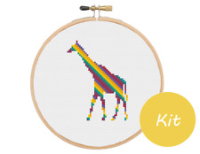 Giraffe Cross Stitch Kit, Mini Animal Cross Stitch Kit, Beginners Cross Stitch