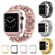 Colorful Stainless Steel Wrist iWatch Band Strap +Case Cover For Apple Watch