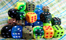Chessex dice d6 set 16mm 6 pcs Green Black Yellow Blue & more FREE SHIPPING