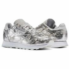 Scarpe donna sneakers REEBOK CLASSIC LEATHER DYNAMIC CHROME in pelle argento BS6