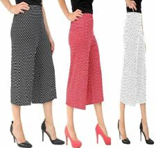 Ladies Polka Dot 3/4 Culottes Shorts Trouser Womens Elasticated Pants Plus Size