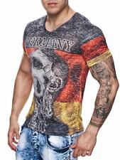 Germania T-shirt WM maglia strass pietre Hooligan Calcio Teschio Germania Uomo