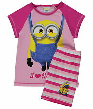 Girls Pyjamas Despicable Me Minions Short Pjs I Love Minions Age 4-5 Years New