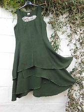 HERRINGBONE TWEED PINAFORE DRESS GREEN LAYERED SKIRT 16 18 20 BNWT LAGENLOOK