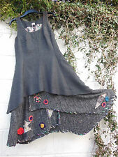 HERRINGBONE TWEED PINAFORE DRESS GREY BLACK KNITTED LAYERS BNWT LAGENLOOK
