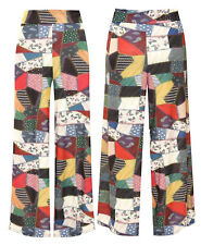 Womens Plus Size Patchwork Print Flared Wide Leg Pants Palazzo Trousers 8-22