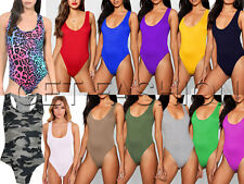 Women Ladies Racer Muscle Back Sleeveless Stretch Bodysuit Leotard Vest Top 8-14