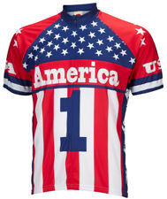 America 1 Cycling Jersey by World Jerseys Mens Short Sleeve USA United States