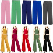 Women Ladies Flared Pleated Crinkle Belted Plain Wide Leg Palazzo Trousers Pants