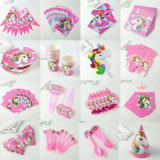 Unicorn Theme Party Decoration Happy Birthday Paper Cup Plated Hat Popcorn 9D86