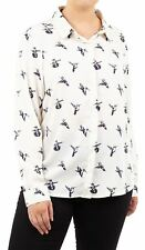 New Womens Plus Size All Over Bird Print Contrast Design Blouse Top 16-22