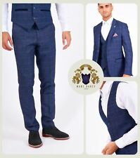 Mens Check Tweed 3/2 Piece Blazer Waistcoat Trousers Slim Fit Smart Jacket Pants