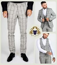 Mens Tweed 3/2 Piece Blazer Waistcoat Trousers Slim Fit Smart Check Jacket Pants