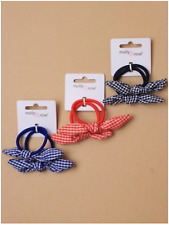 2 Hair Elastics with Gingham Check Bow Girls