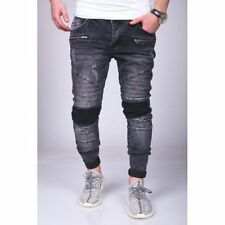 Hombre Moto Jeans Destroyed Negro Ripeado Skinny Slim Fit 19 Mainstream Moda