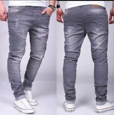 Hombre Moto Vaqueros Gris Ripeado Stonewashed Destroyed Slim Fit Mainstream Moda