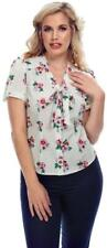 Collectif Tura 40s Pansy Floral Short Sleeved Blouse