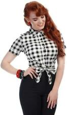 Collectif 50s Style Sammy Vintage Black White Gingham Tie Blouse