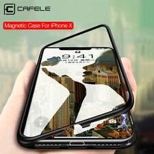 CAFELE Magnetic Adsorption Flip Metal Bumper Glass Back Case For iphone X 8 7 +