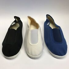 DECATHLON DOMYOS FLAT PUMPS SLIP ON YOGA  GYM CANVAS PLIMSOLLS Black White Blue