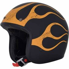 CASQUE JET MOTO AFX FX76 FLAME VINTAGE NOIR/ORANGE MAT