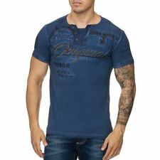 Polo T-Shirt Blue Scollo a V Slavato Maglia Club V-Camicia Mainstream Moda