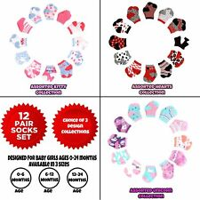 Rising Star Baby Girls Assorted Color Designs 12 Pair Socks Set, Age 0-24 Months