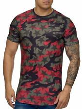 Mimetico T-Shirt Red Motivo Stella USA Militare 68 Esercito Mainstream Moda
