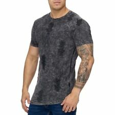 Extra Grande Camiseta Negra Stonewashed Camiseta Larga Destroyed Mainstream Moda