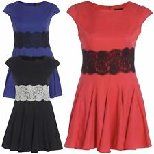 New Womens Plus Size Lace Waist Pleated Flared Mini Skater Swing Dress Top