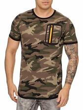 Mimetico T-Shirt Marrone Arancione Zip Forze Armate Us Air Force Mainstream Moda