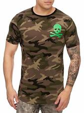 Mimetico T-Shirt Marrone Teschio Verde Cranio S - XL Army Mainstream Moda